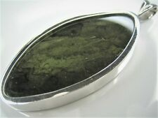 100% NATURAL CZECH MOLDAVITE 46 x 22mm STERLING SILVER BIG PENDANT ~ BURNING ~