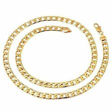 hip hop jewelry Yellow Gold Filled Mens cuban link chain long Necklace 24.4 ""