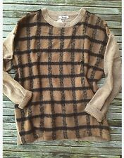 NEW Madewell Alexa Chung Fur Plaid Sweater Tan Jcrew Longsleeve Pullover Knit M