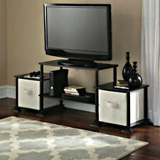 Small TV Stand For Flat Screens Black Entertainment Center Console Table Media