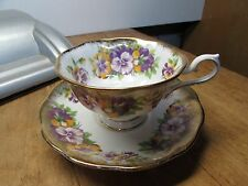 VINTAGE ROYAL ALBERT PANSY FLOWER WITH GOLD CUP AND SAUCER SET BONE CHINA