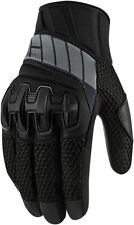 ICON OVERLORD Mesh Leather/Textile Short Motorcycle Gloves (Stealth) S (Small)