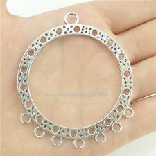15504*6PC Silver Vintage Large Round Hollow Ring Pendant Connector Alloy Antique