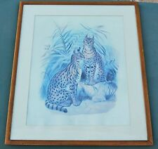 DANIEL GIRAUD ELLIOT THE SERVAL ORIGINAL LITHOGRAPH FROM A FAMILY OF CATS 1883