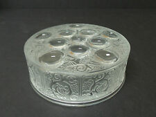 "LALIQUE CRYSTAL CLEAR & FROSTED ""ROGER""  ART GLASS DRESSER / POWDER BOX"