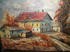 "Farmhouse and countryside painting"" O/B--exotic frame--multi woods used:Stunning"