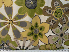 Drapery Upholstery Fabric Cotton Duck Retro Floral Design - Lime Green