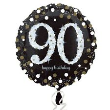 Black and Gold Celebration 90th Birthday Foil Helium Balloon