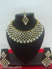 Indian Ethnic Gold Tone Bollywood Bridal Designer Yellow Jewelry Necklace Set