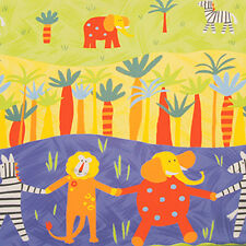 Cotton 100% Child Baby Fabric Quilt Bedding Animal Elephant Lion Zebra Zoo 44'W
