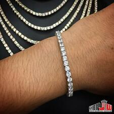 "White Gold Simulated Diamond HipHop One 1 Row Bracelet Mens Iced 8"" Tennis Iced"