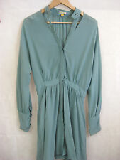 Leifsdottir Size 4 Teal Cutout silk button up dress