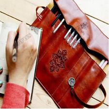 Retro Vintage PU Leather Cosmetic Case Pouch Purse Bag Makeup Pen Pencil Box ACT