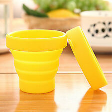 New Yellow Collapsible Folding Cup Travel Portable Silicone Telescopic Drinking