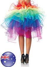 Halloween Adult Petticoat Rainbow Tulle Tutu Fluffy 8-layer Bustle Skirt Ballet