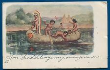 H M Pollock Artist Signed Native American Indians embossed postcard Cupid Canoe