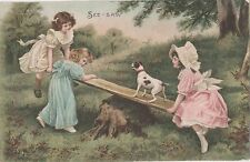 POSTCARD  CHILDREN  See saw
