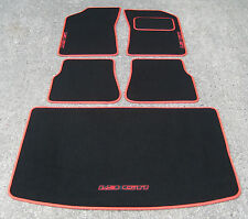 "Car Mats in Black/Red Trim to fit Peugeot 205 + ""1.9 GTI"" Logos + Boot Mat"