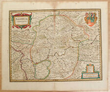 Carte c1650 JANSSONIUS in-folio map couleurs NASSAU Diez Weilburg Wetzlar 44