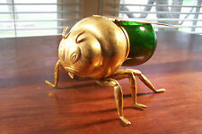 Figural Honey Bee Pot IF&S Silver Sheffield Wings w Italian Glass Body