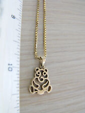"14K & 8K 333 FBM 19"" Gold Box Chain Necklace Teddy Bear Pendant 4.7 gr TOTAL"