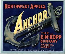 OLD YAKIMA APPLE LABEL: MARITIME THEME - C.M. KOPP COMPANY - ANCHOR BRAND