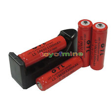 4x 18650 3.7V GTL Li-ion 5300mAh Red Rechargeable Battery + 9V 16340 Charger