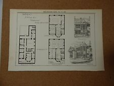 Antique Architects print B.N.D.C Village club Design Building News 1887