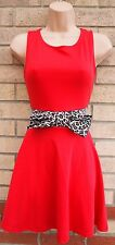 MISS YOU LEOPARD  BOW DETAIL RED SKATER FLIPPY FLAPPER TEA RARE DOLLY DRESS S M