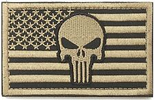 WZT Punisher American Flag Patch Military Patch / Velcro Morale (Mud color)