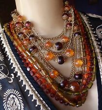 Vintage 2 Necklaces Lot Chunky Wide Layered Fall Toned Lucite Beads 1970's