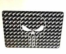 PUNISHER SKULL, CARBON FIBER PATTERN, Billet Aluminum Hitch Cover, 3x5 USA