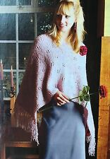 KNITTING PATTERN Ladies Lace Patterned Wrap Poncho Style Tassel Merino PATTERN