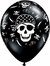 "10 pc - 11"" Pirate Skull & Cross Bones Print Latex Balloons Black Happy Birthday"
