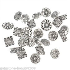GB Mixed Antique Silver Round Metal Buttons Flower Sewing Scrapbooking