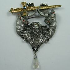 Very Large Vintage Merlin Wizard & Sword Signed JJ Designer Jonette Brooch Pin