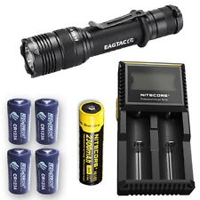 EagleTac T200C2 Flashlight w/D2 Charger, NL183 & 4x Eco-Sensa CR123A Batteries