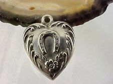 Vintage Sterling Repousse HORSE SHOE Design - PUFFY HEART Charm WAYNE Name