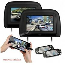 "'2 x 9"" In Car Monitor DVD Player Headrest with HDMI Input and 2 IR Headphones"