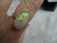 100% Genuine STUNNING Coober Pedy Opal & Diamond 14k Gold Ring 3.30ct WOW WOW