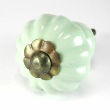 2 pc Green Ceramic Vintage Cabinet Knobs Kitchen Drawer Hardware C84RLS