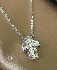 Crystal Cross Pendant Necklace/Swarovski Elements/White gold/RGN265S
