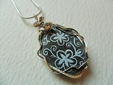 "Hand painted Victorian flower & Swarovski crystal sea slate necklace - 18"" chain"