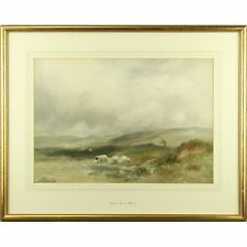 Arthur Basset Waller Dartmoor Shepherd Sheep Impressionist Painting