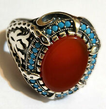 HQ.Turkish 925 S. Silver Turquoise & Red Agate Men's Ring Sz 10.5 us #n167