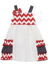 NWT Rare Editions Girl 6 Patriotic Holidays SCHOOL CLOTHES Chevron Print Dress