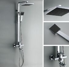 "Chrome Bath Shower Faucet Set 8"" Rain Shower Head + Hand Spray Mixer Tap"