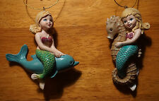 Baby Mermaid Seahorse & Dolphin Christmas Ornament Set Tropical Beach Decor NEW