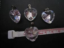 4pcs Heart Shaped Faceted Drilled Crystal Glass Prism Beads