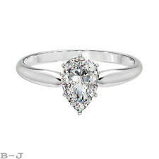 1.0 ct Pear Cut Solitaire Engagement Wedding Ring Size 6.5 14K Real White Gold